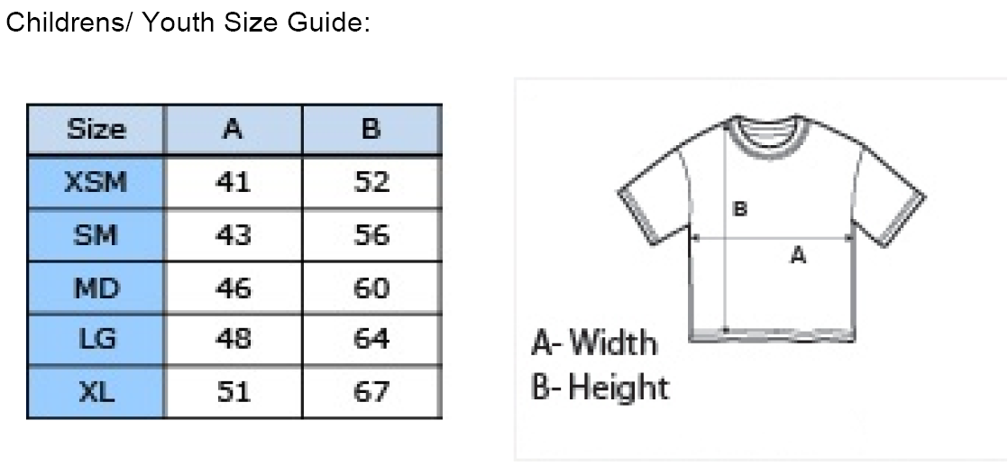 Childrens Games T-Shirt Size Chart